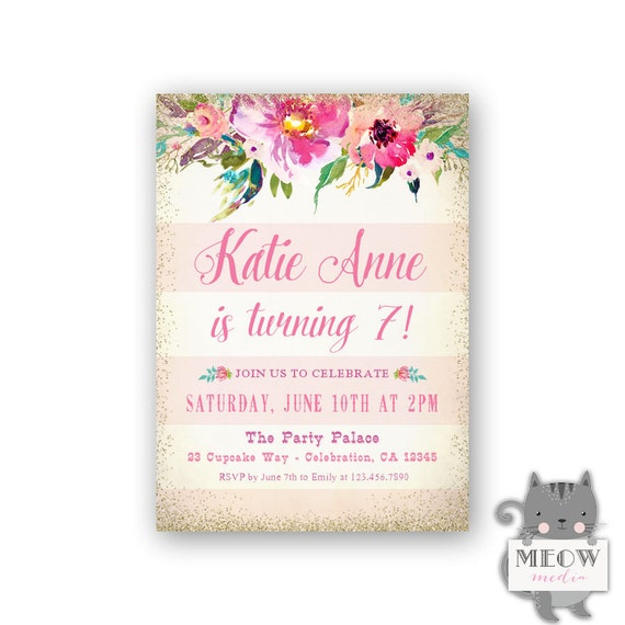 Pink Stripes Girls 7th Birthday Invitations Gold