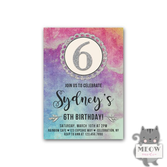 6th Birthday Invitations For Girls Art Party Paint
