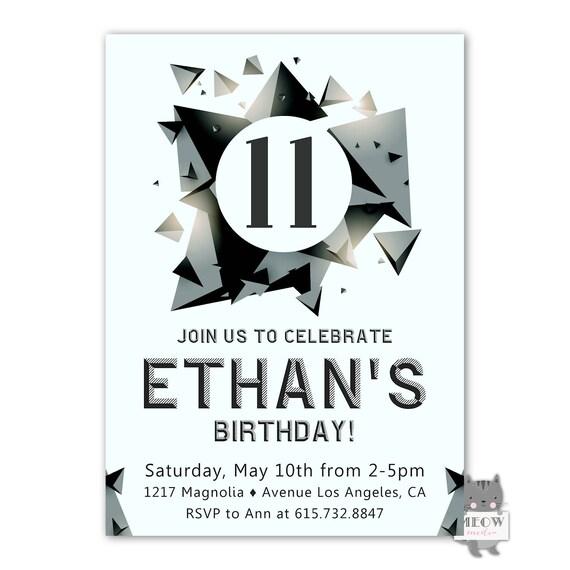 Boys 11th Birthday Invitation Skate Park 12th