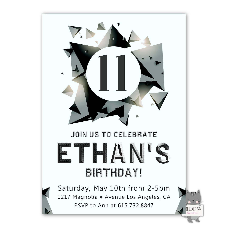 Boys 11th Birthday invitation Skate Park Invitation 12th | Etsy