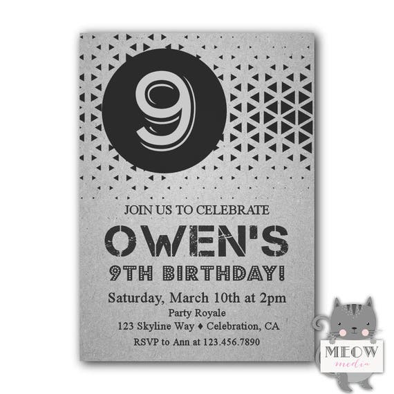 Geometric 9th Birthday Invitations Boy Party