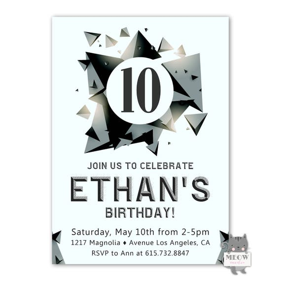 10th birthday invitation boy rock climbing birthday etsy