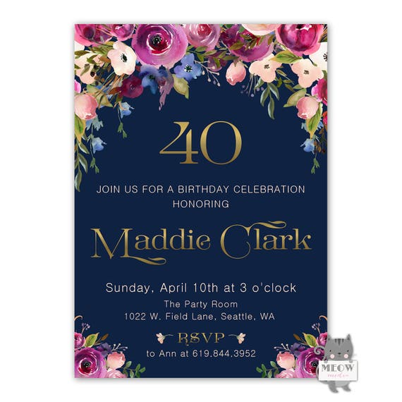 40th Birthday Invitation Women Printable