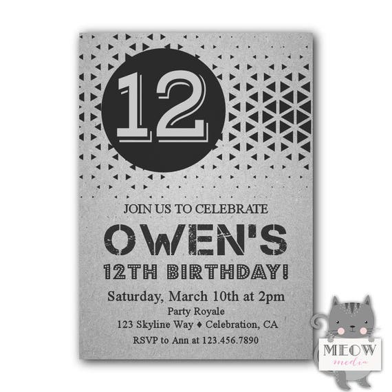 12th Birthday Invitations Boy Printable