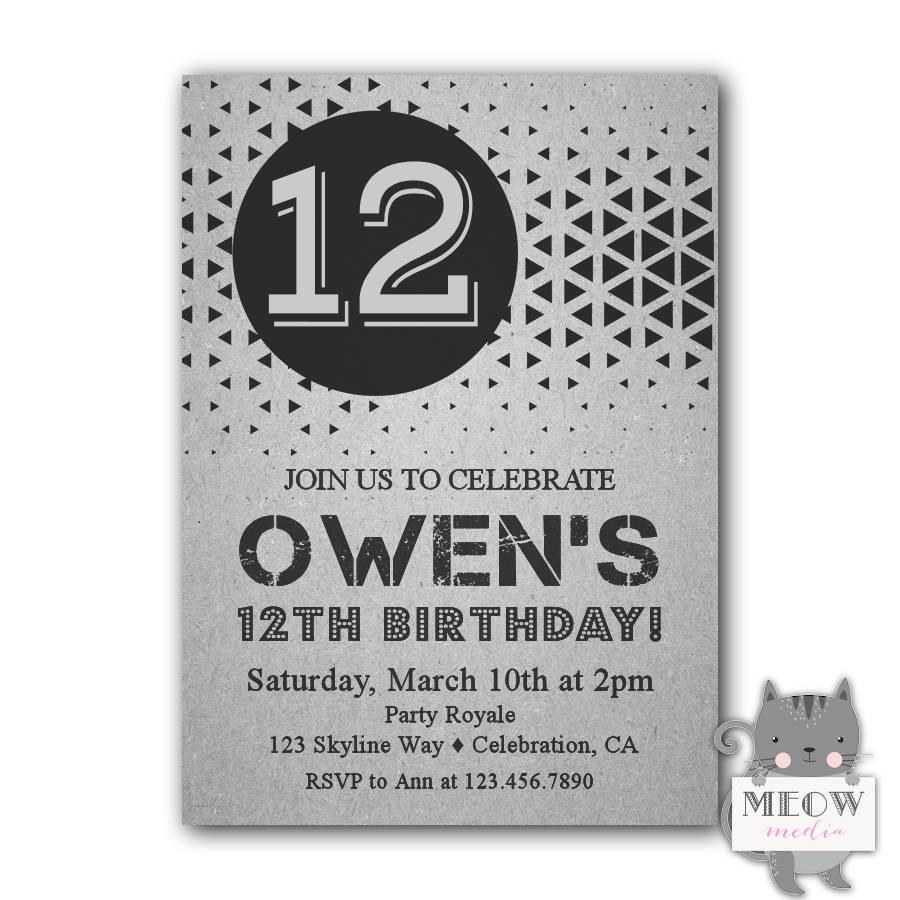 12th Birthday Invitations Boy Printable Birthday Invitations Etsy