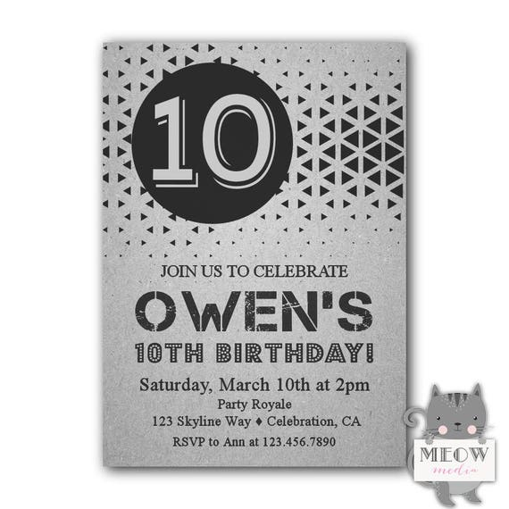 10th birthday invitation boy printable 10th birthday etsy