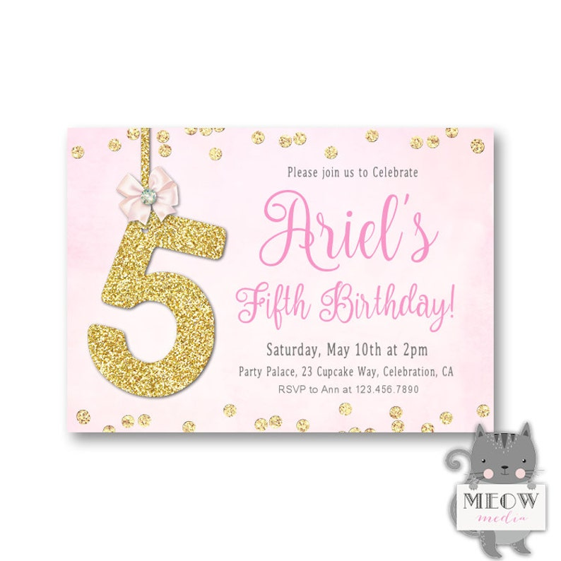 Bling 5th Birthday Invitations For Girls Fifth