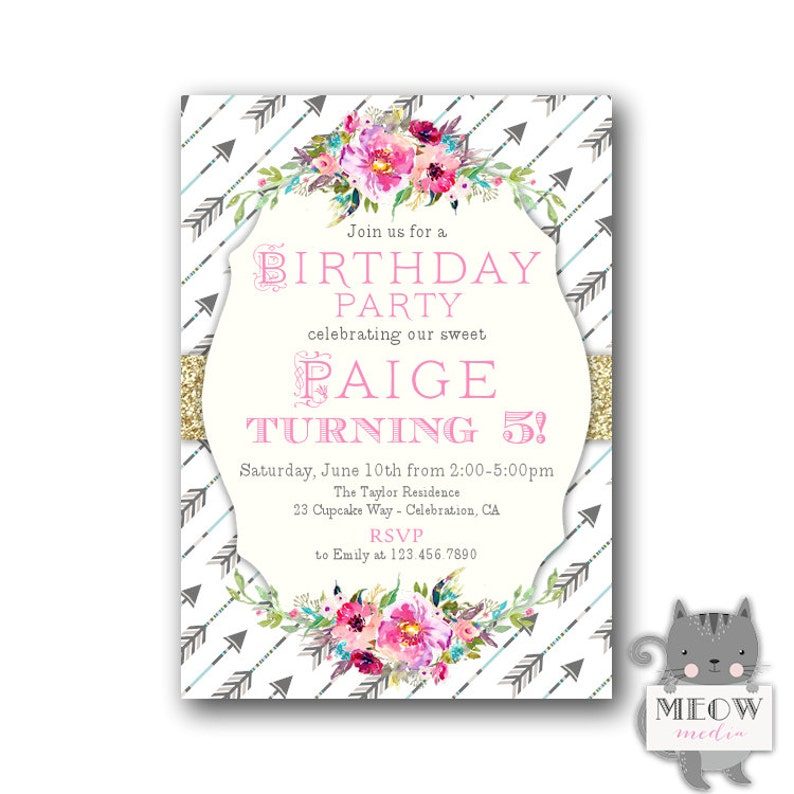Boho Girls Birthday Invitations 5th Bohemian