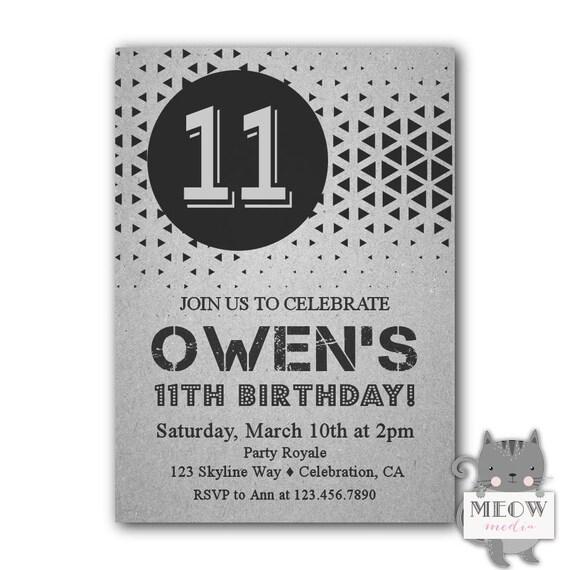 boys 11th birthday invitation 11th birthday party invitations etsy