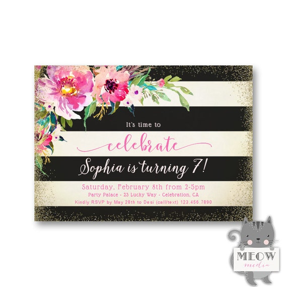 Girls 7th Birthday Invitations Colorful Florals 1st