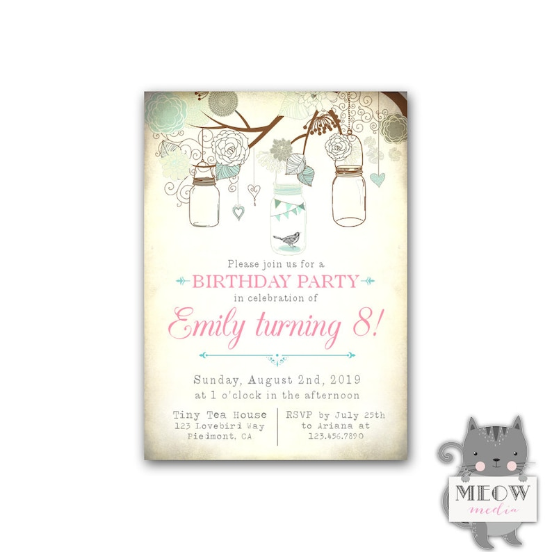 8th Birthday Invitations Mason Jar Invites Little Bird