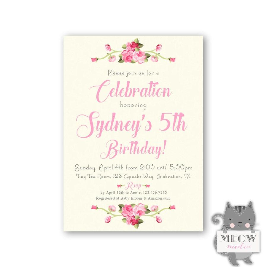 5th Birthday Invitations for Girls Sweet Shabby Chic 1st | Etsy