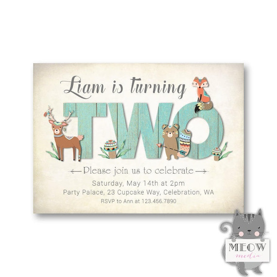 Woodland Birthday Invitations Boy 2nd Invitation