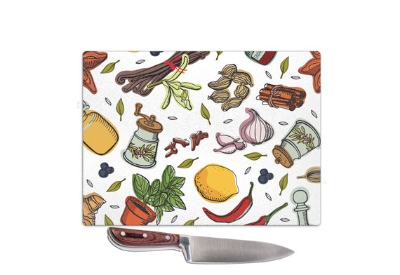 Glass Worktop Saver Chopping Board Kitchen Design Printed in The UK