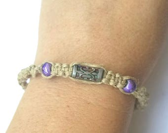 purple bead bracelet, purple beaded bracelet, purple bracelet women, hippie bead jewelry, boho bead bracelet for women, hemp jewelry, surfer