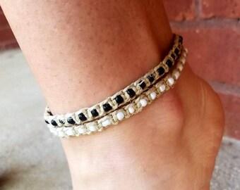 beach anklets, anklets for women, anklets for beach, beach jewelry bracelets, ankle jewelry, beaded anklet, summer anklets, black anklet