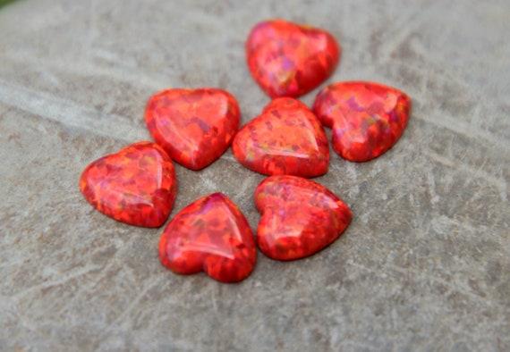 Red Opal Heart OPAL HEART CABOCHONS opal heart valentines day valentine/'s day Opal Hearts heart gemstone