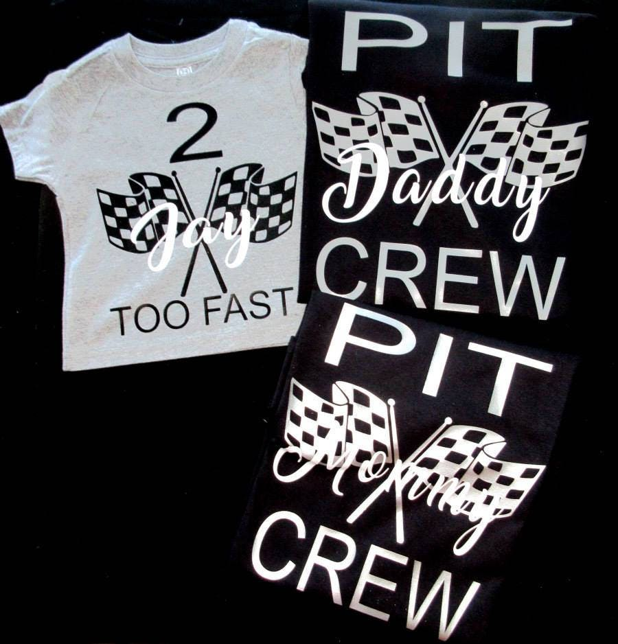 Race Car Pit Crew Family Birthday Vinyl Shirt Set Racing Etsy