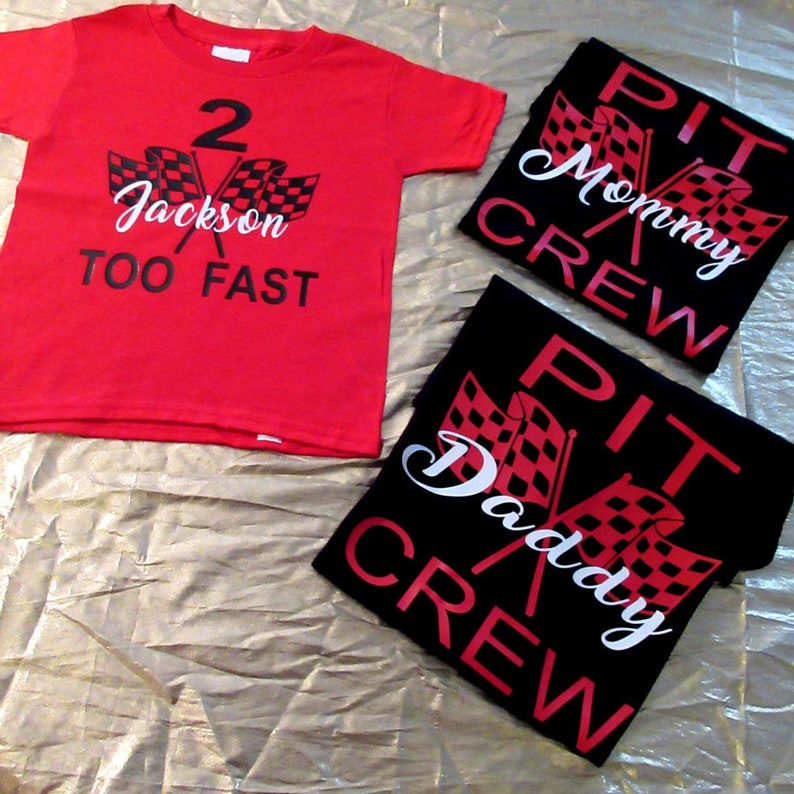 Race Car Pit Crew Family Birthday Vinyl Shirt Set Racing Too Fast Any Age Cars