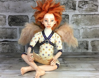 Angel with Letter Art Doll , OOAK, Collectible Art Doll, Handmade Doll, Interior Doll, Boudoir Decor