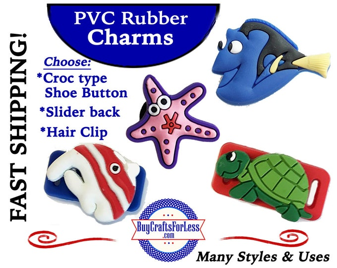 PVC Charms, FiSHY, FiSHY! Turtle or Starfish, too-Croc-Style Shoe Charms *20% OFF Any 4 +ShipFREE *Choose back-Button, Slider, Hair Clip