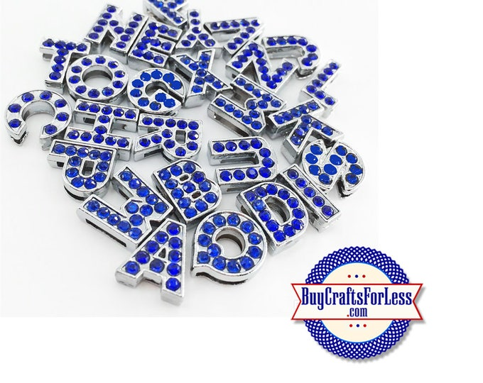 BLUE Rhinestone Silver Slide LETTERS for 8mm bracelets, chokers, collars, key rings, slider jewelry +FREE Shipping & Discounts*