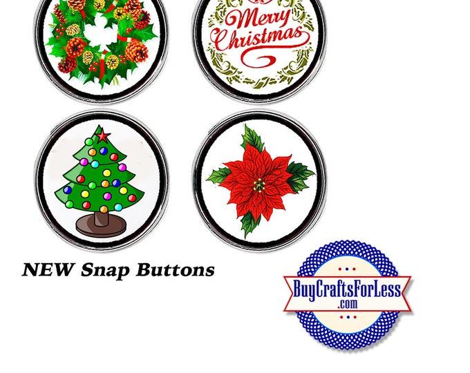 SNaP CHRiSTMAS ASST'd BUTTONs, 18mm INTERCHaNGABLE Buttons, 4 NeW Styles +99cent Shipping - 39cent ea addt'l