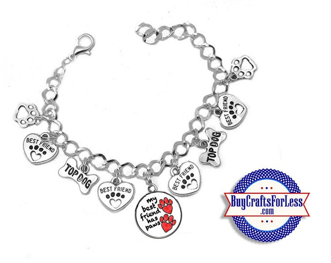 """DOG Best FRIEND Charm BRaCELET, Silver Plated, 7""""-8"""" +FREE SHiPPiNG & Discounts*"""