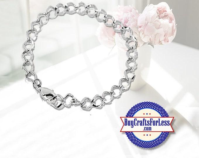 "Chain Charm Bracelet, 7 1/2"", clip end +99cent Shipping & Discounts*"