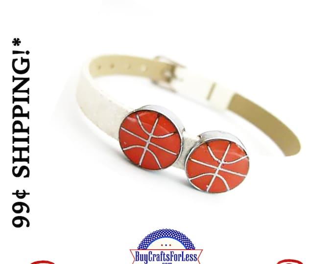 BASKETBALL for 8mm Slide Bracelet, Collars, Napkin Rings, Key Rings +99cent Shipping*