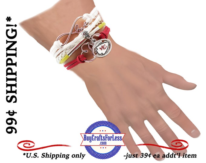 FREE CHaRM! INFiNITY Love Bracelet with FREE Football GiFT CHaRM, Great Football GiFT +99cent SHiPPiNG - 39cents ea addf'l item