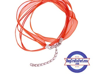 Ribbon CORD necklace, RED +FREE SHiPPiNG & Discounts+