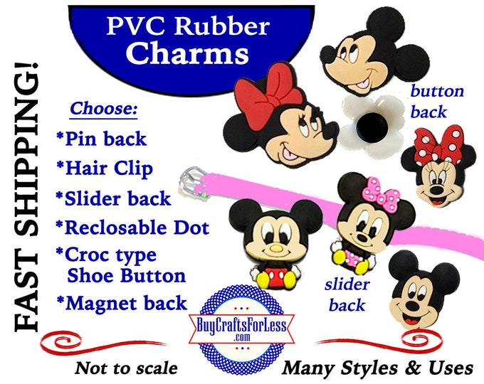 20% off *SALE* PVC Charms, MOUSe, Mickey or Minnie *Choose back-Button, Hair Clip, Magnet- 99cent shipping - 39cents ea addt'l