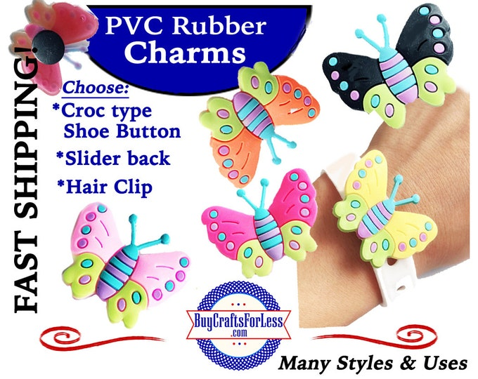 PVC Charms, the BUTTERFLIES Croc-Style Shoe Charms * 20% OFF Any 4 PvC Charms+ShipFREE *Choose back-Button, Slider or Hair Clip