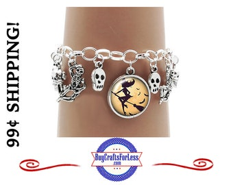 HALLoWEEN CHARMs BRACELeT, with PIRATEs, SKULLs, SPIDERs, more-SUPER CUTE! +99cent Shipping