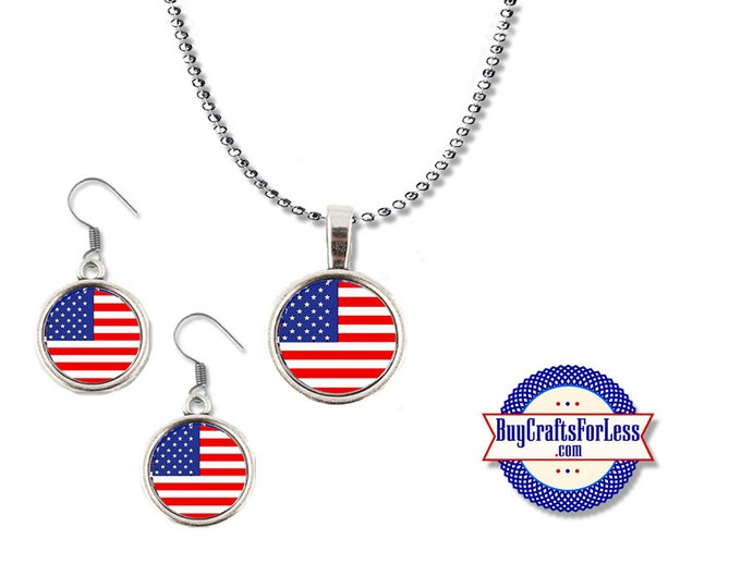 PATRiOTIC USA, July 4th, USA Flag Pendant and Earrings - **FREE SHiPPiNG**
