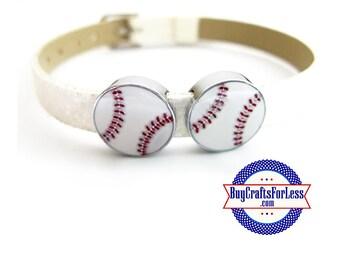 BASEBALL for 8mm SLIDE Bracelets, Key Rings, Collars +FREE Shipping & Discounts*