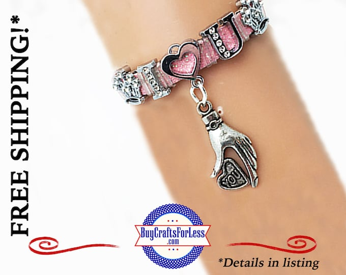 I LOVE U Bracelet with Rhinestone Letters, Gift Box, Avail.- Best Seller  +FREE SHiPPiNG & Discounts*