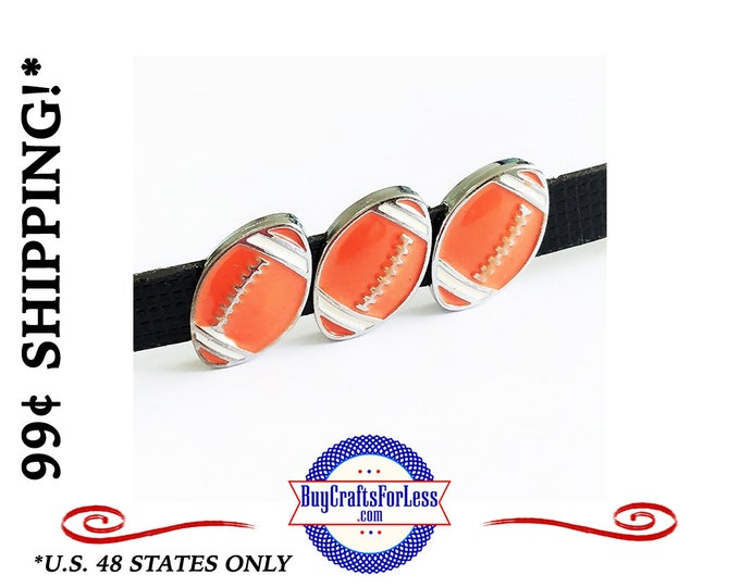 FOOTBALL Charms for 8mm Slider BRACELETs, COLLARSs, CHOKERs or Key RINGs +99cent Shipping