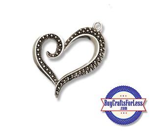 Heart Pendant Charm, Lg, Silver Finish, 2, 4, 6, 12 PCS +FREE SHiPPiNG & Discounts*