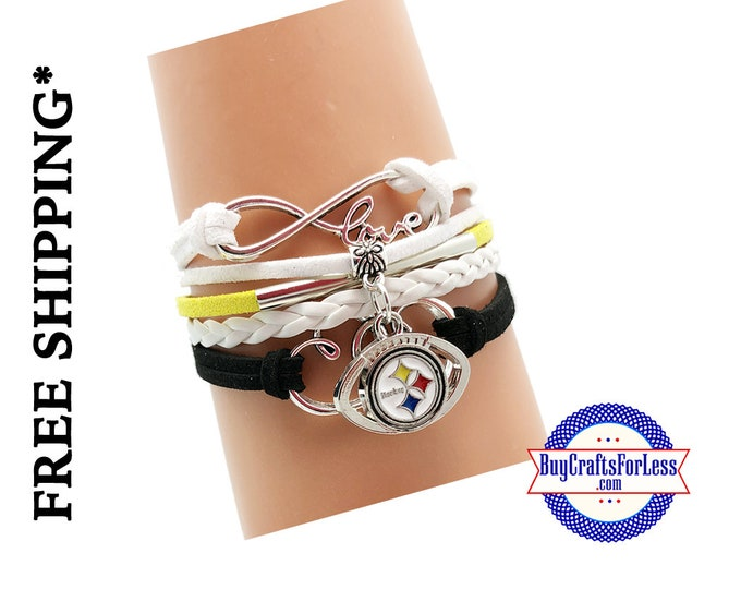 PITTSBURGH Football CHaRM BRACeLET, Football gift +FREE SHiPPiNG & Discounts*