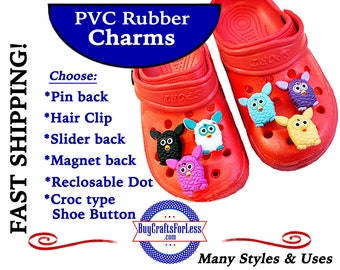 20% off *SALE* -PVC BUTTON Charms, BiG EYEs & EARs *Choose back-Button, Hair Clip, Magnet- 99cent shipping - 39cents ea addt'l