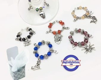 HALLOWEEN WiNE or Bottle CHARMs, Glass / Silver Beads, Set of 6, FREE Gift BoX!!  +FREE SHiPPiNG & Discounts*