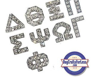 GREEK Rhinestone Silver 8mm Slide LETTERs for bracelets, collars, key rings, slider jewelry-QUANTiTY PRiCING +FREE Shipping & Discounts*