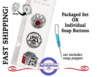 SNaP METAL DOG, 18mm Rhinestone Snap, Packaged 3 Snap Buttons or Individual INTERCHaNGABLE Buttons +99cent Shipping - 39cents ea addt'l item