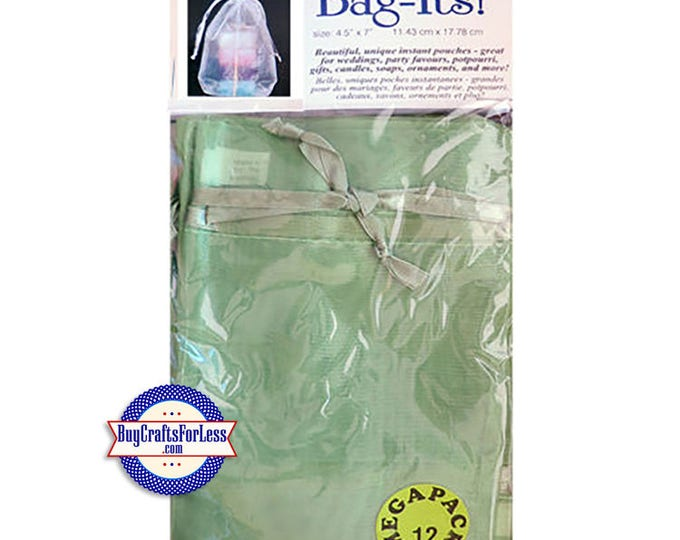 "Sheer Organza PARTY Bag-its, 72 pcs 4 1/2"" x 7"", Olive +FREE SHIPPING & Discounts*"