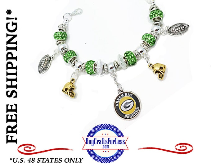 GREEN BaY FOOTBALL BRACELet with CRySTAL BeADS, Football GiFT, Very NiCE, Best Seller  +FREE Shipping