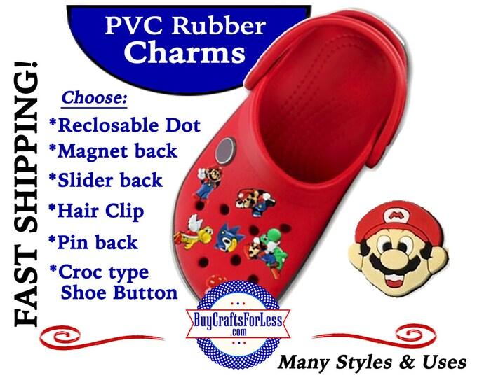 20% off *SALE* PVC Charms, Mustache Man *Choose back-Button, Hair Clip, Magnet- 99cent shipping - 39cents ea addt'l