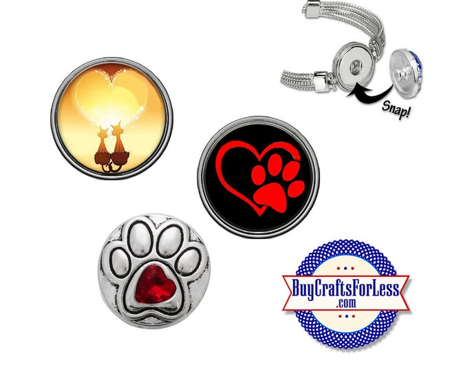 Animal PAW PRiNT SNAP Buttons, 18mm INTERCHaNGABLE Buttons, 3 NeW designs +FREE Shipping & Discounts
