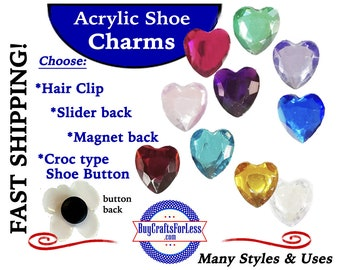 Acrylic SHOE Charms, 2 pcs.pkg * 20% OFF Any 4 PvC Charms+ShipFREE *Choose back-Button, Slider, Hair Clip, Magnet